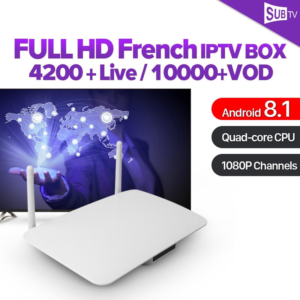 Caixa de IPTV France Q1404 Android 8.1 Receptor de TV Árabe caixa de IPTV Arábica IPTV Leadcool 1 ano a França Bélgica Peru Portugal IP TV