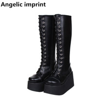 Platform Shoes Heels Motorcycle-Boots Angelic Imprint Punk Lolita Women Mori Girl Pumps