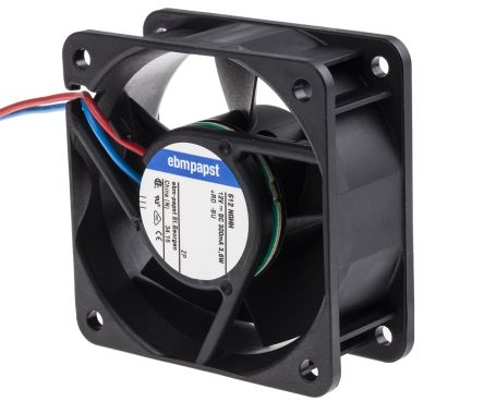 Ebmpapst 612NGHH  Cooling Fan, Size 60 X 60 X 25.4mm 12 V DC, Air Flow 56.1m3/h, 6850rpm