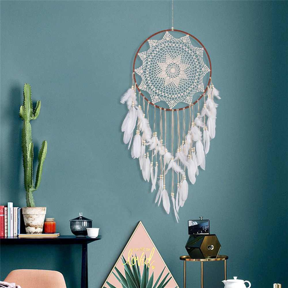 Indian Style Wall Hanging Dream Catcher Handmade Big Large Circle Living Bedroom Dreamcatcher Shabby Chic Craft For Girls