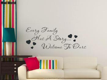 Toda familia tiene una historia bienvenida a nuestras pegatinas de arte de la pared calcomanías hogar DIY decoración extraíble habitación decoración de pared pegatinas