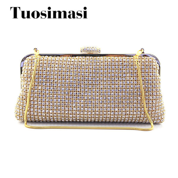 Fashion Gold Crystal Evening Clutches Women Rhinestones Bridal Purses Wedding Prom Clutch Evening Bag Handbag Gold Shoulder Bag crystal rhinestones women evening clutch bag bridal wedding clutches party dinner prom chain shoulder handbag purse