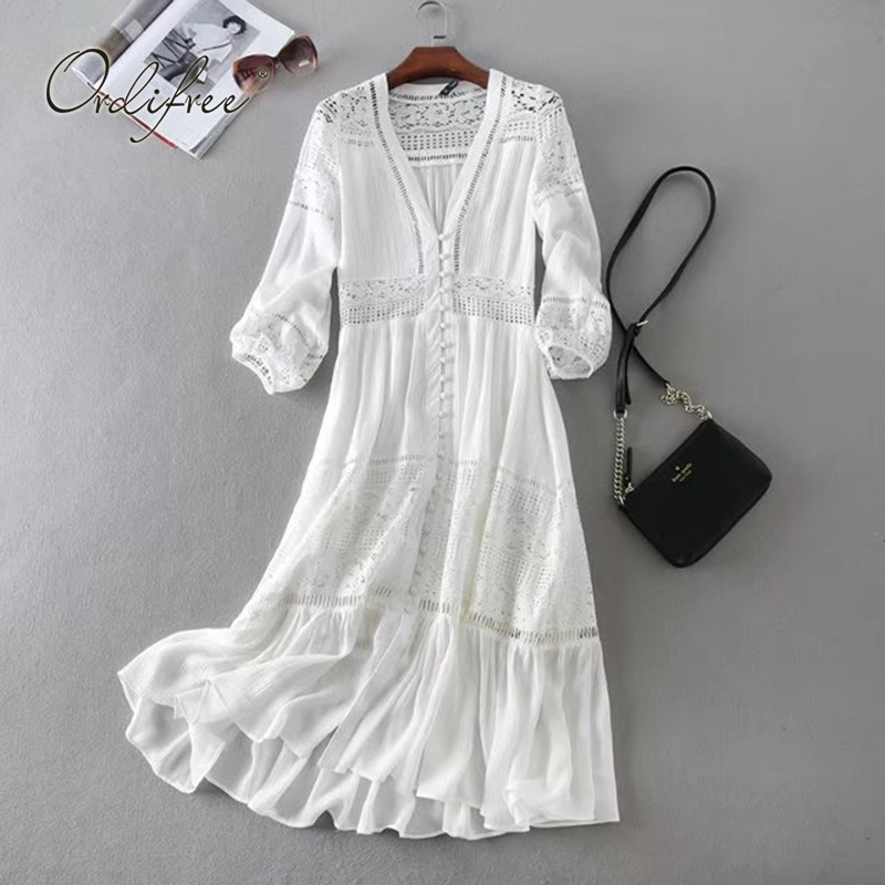 Ordifree 2019 Summer Women Long Tunic Beach Dress Sundress Long Sleeve White Lace Sexy Boho Maxi Dress Holiday Clothes