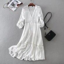Ordifree 2020 Sommer Frauen Lange Tunika Strand Kleid Sommerkleid Langarm Weiß Spitze Sexy Boho Maxi Kleid Urlaub Kleidung