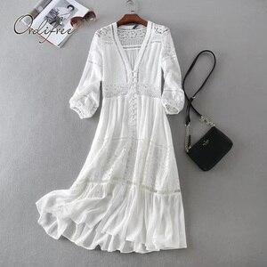 Image 1 - Ordifree 2020 yaz kadın uzun tunik plaj elbise Sundress uzun kollu beyaz dantel seksi Boho Maxi elbise tatil elbise