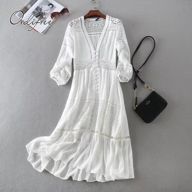 Ordifree 2020 yaz kadın uzun tunik plaj elbise Sundress uzun kollu beyaz dantel seksi Boho Maxi elbise tatil elbise