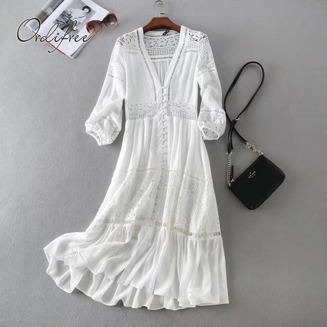 Ordifree robe longue de plage en dentelle blanche, manches longues, Sexy, style Boho Maxi, vêtements de vacances, été 2020