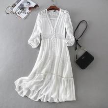Ordifree túnica larga de encaje blanco para mujer, vestido playero de manga larga, Sexy, bohemio, para vacaciones, verano 2020