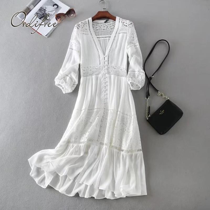 Женское длинное платье туника Ordifree, белое кружевное платье  туника с длинным рукавом, для отпуска, 2020Платья