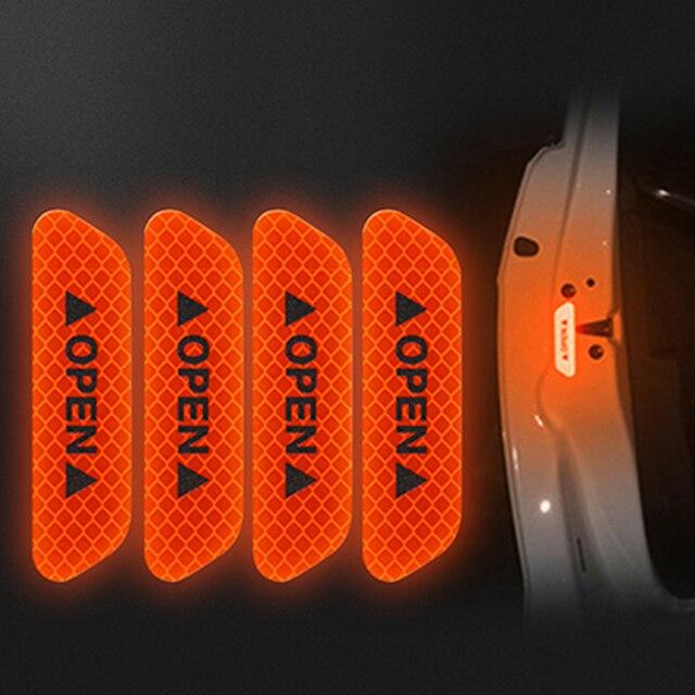 Bandes réfléchissantes ouvertes pour voiture | 4 pièces, autocollants davertissement de voiture, autocollants de sécurité conduite nocturne, bandes lumineuses chaudes