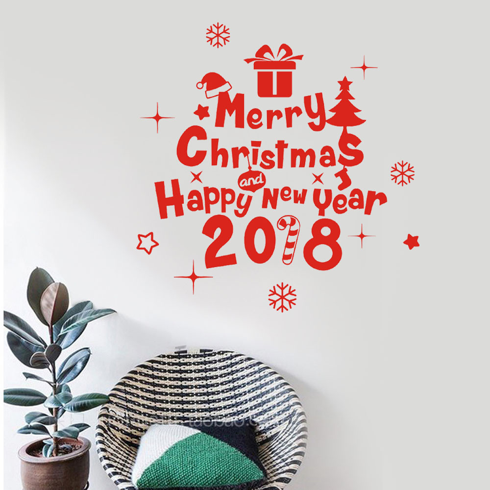 Aliexpress buy creative new year 2018 merry christmas wall aliexpress buy creative new year 2018 merry christmas wall sticker decoration vinyl wall home shop windows stickers muraux adesivos de parede from amipublicfo Gallery