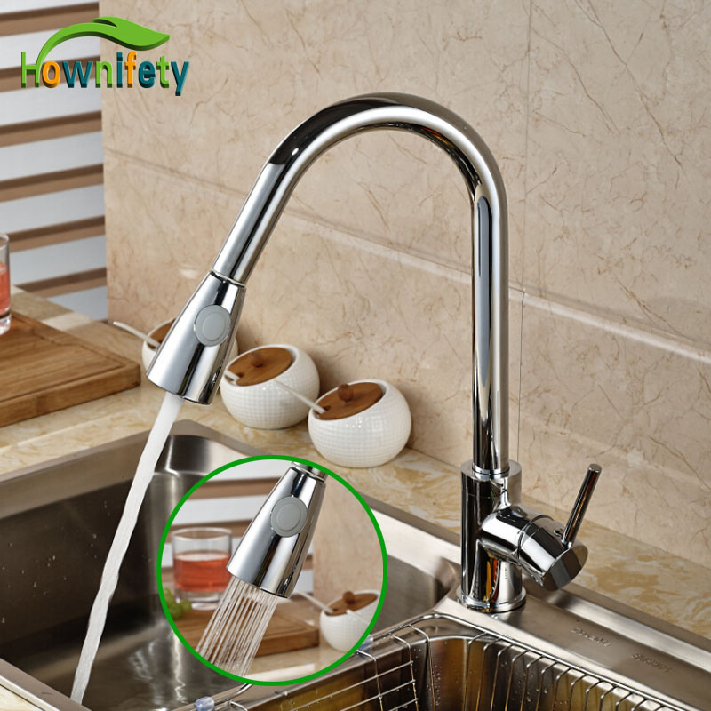 Bright Chrome Newly Pull Out/Down Sprayer Kitchen Mixer Tap Single Level Deck Mounted Steam & Spray Spout Sink Faucet new pull out swivel chrome brass kitchen faucet spout vessel basin sink single handle deck mounted mixer tap mf 446