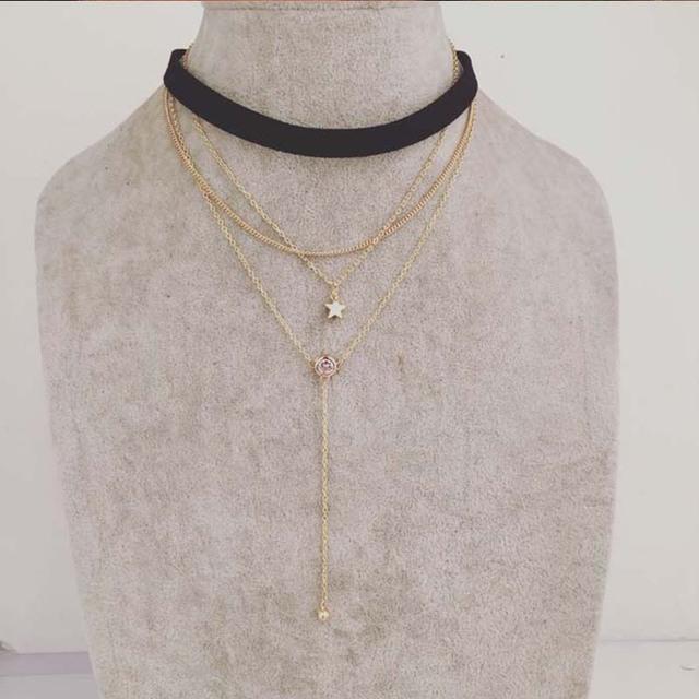 Moda 2016 colar mulheres estrela one / setCZ cristal cadeia longa colar feminino preto binários colar novo na moda meninas binários