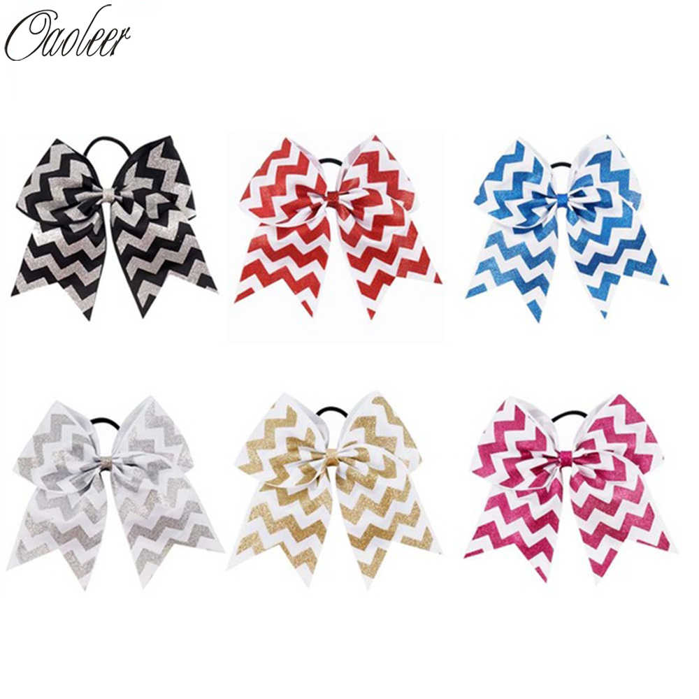 "6pcs/Lot 7""Girl Glitter Chevron Cheer Bow With Elastic Band Handmade Ribbon Bling Bling Cheer Hair Bows Kids Hair Accessories"