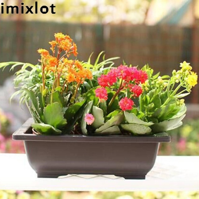 Imixlot Antique Plastic Square Flower Pot Balcony Bonsai Pots Nursery Bowl Basin Planter