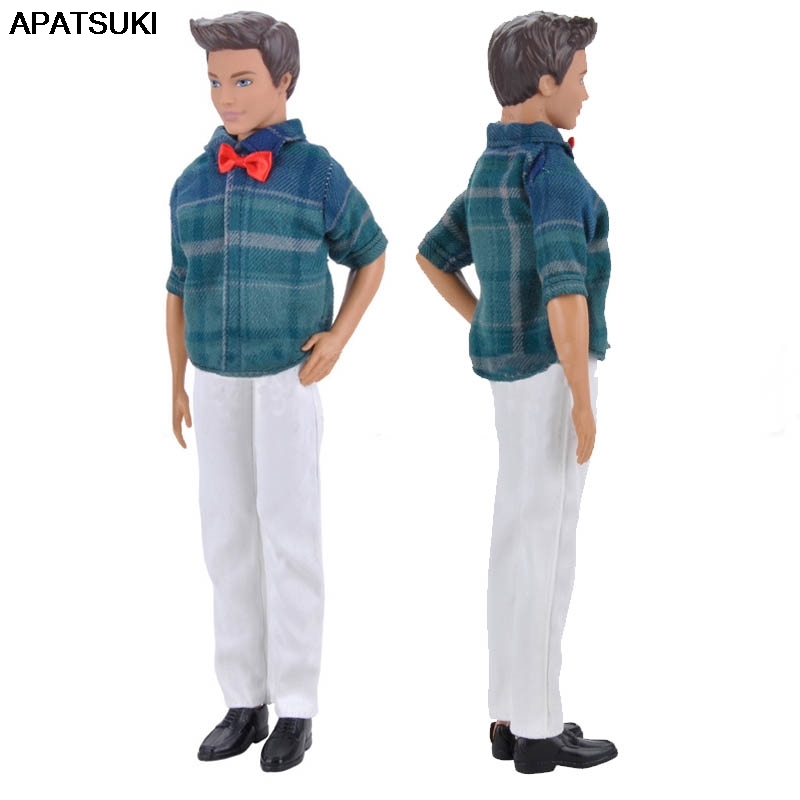 1set 1//6 Doll Clothes Blue Plaid Shirt /& White Pants For Ken Doll Trousers Toy