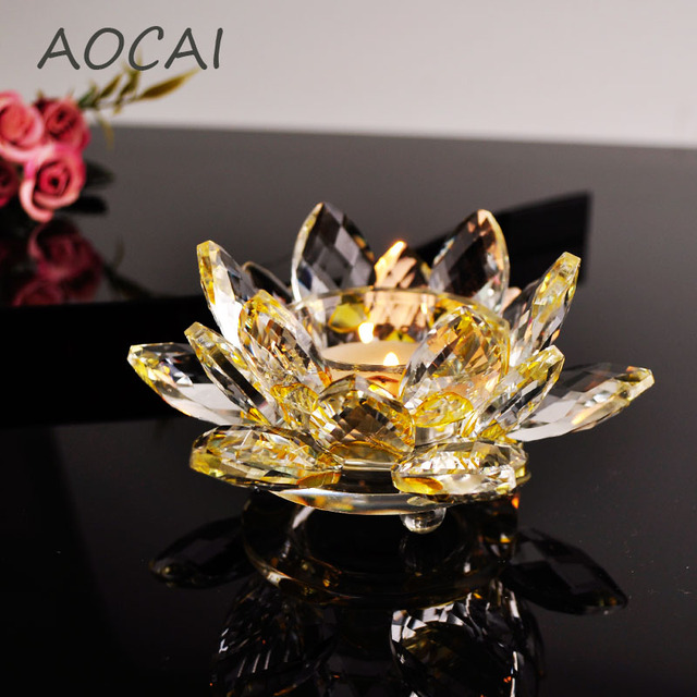 Yellow crystal glass lotus flower candle holders wedding columns yellow crystal glass lotus flower candle holders wedding columns candelabra centerpieces holder home decor bowl candlestick mightylinksfo