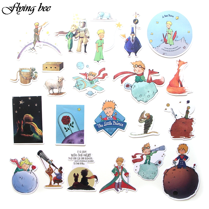 Image 2 - Flyingbee 23 Pcs Little Prince Cartoon Stickers for Kids DIY Luggage Laptop Skateboard Car Bicycle Waterproof Sticker X0023-in Stickers from Consumer Electronics
