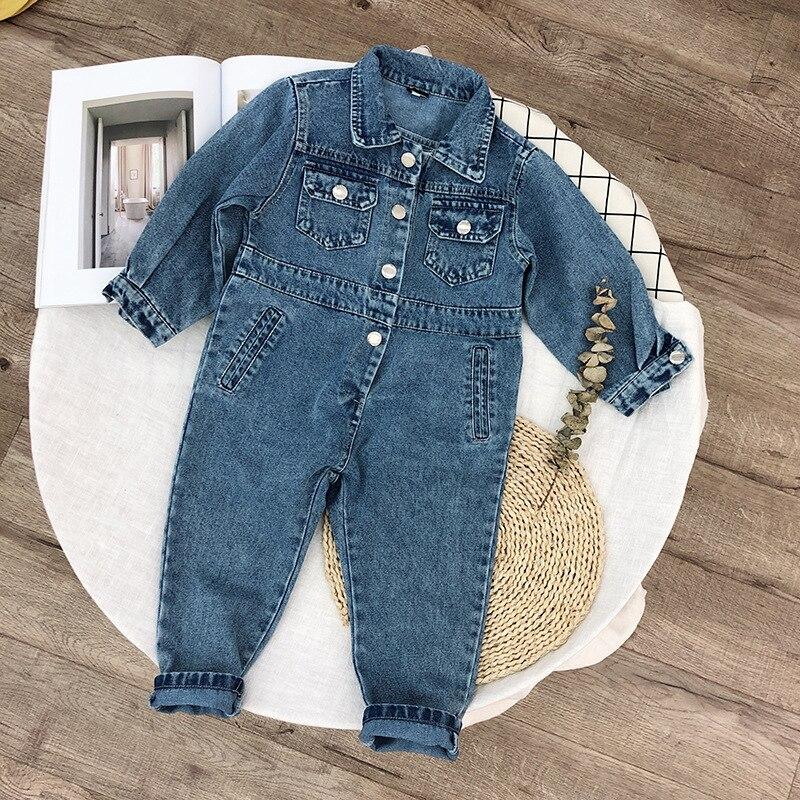 Bébé Denim barboteuses combinaison pour les nouveau-nés Jeans à manches longues Cowboy Jeans bébé Costume nouveau-né onesie survêtement une pièce 2019