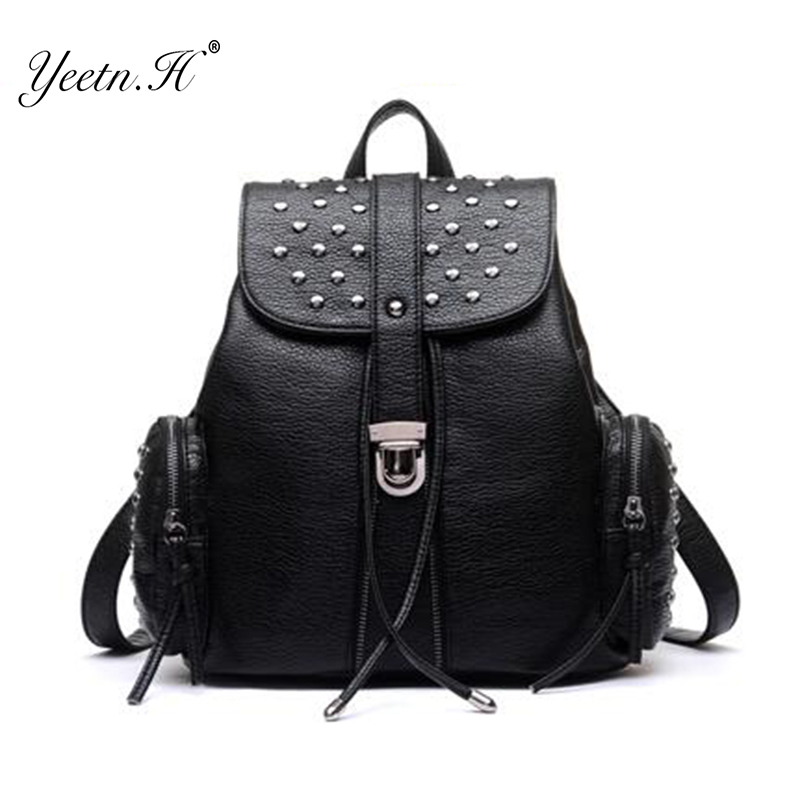 ФОТО 2017 New Arrival PU Leather Backpack Women School Bags for Teenage Girls Cute Bookbags Vintage Laptop Backpacks FemaleY1070