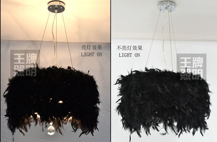 Feather Black Pendant Lamps crystal acrylic crystal 30CM-50CM belt Cafe hotel white feather Pendant Lights personality feather tassel belt