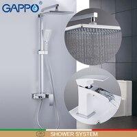 Gappo sistema de chuveiro torneira da bacia deck montado torneira da pia bacia conjuntos latão cromado e branco parede torneira do banheiro mixer