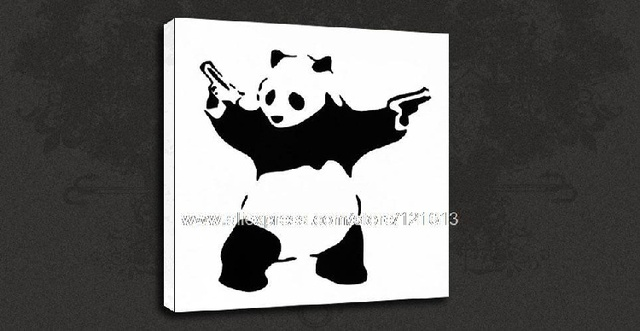 Banksy panda white graffiti canvas street art oil paintings art deco famous artists modern african painting