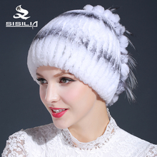 2016 women's hot sale winter real fur hat 100% rex rabbit fur hat  with rex flowerw free size casual women's hat
