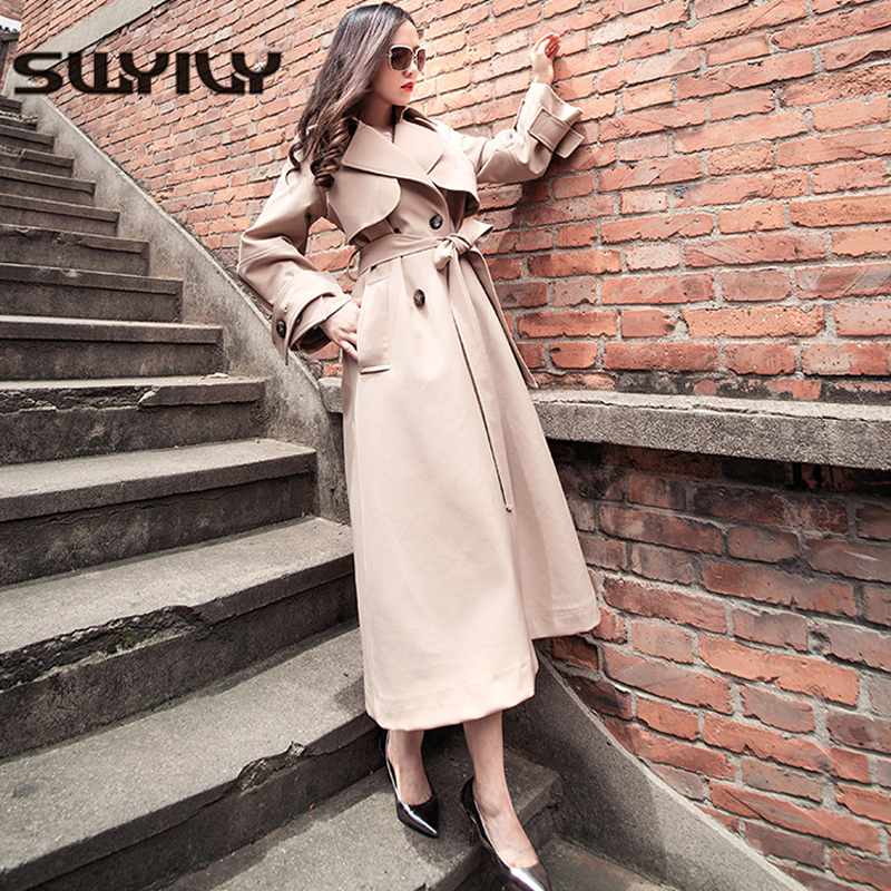 SWYIVY   Trench   Coats Women Double Breasted Long Design 2019 Spring Autumn New Female Solid Color Khaki Woman   Trench   Coats Outwear