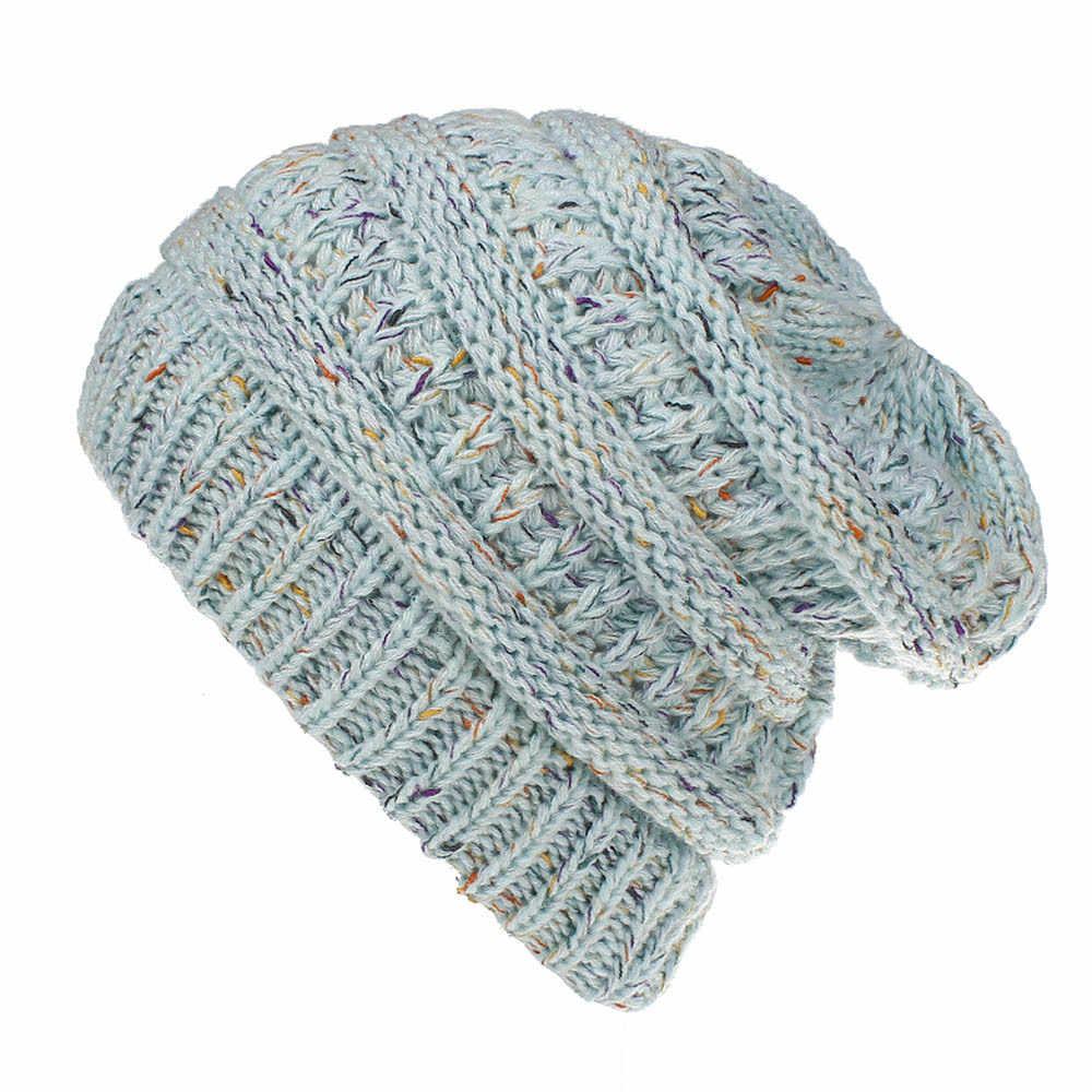 608133eb74212 ... Winter Warm Trendy Slouchy Chunky Knit Beanie Hat for Women Messy Bun  Ponytail Cap ...