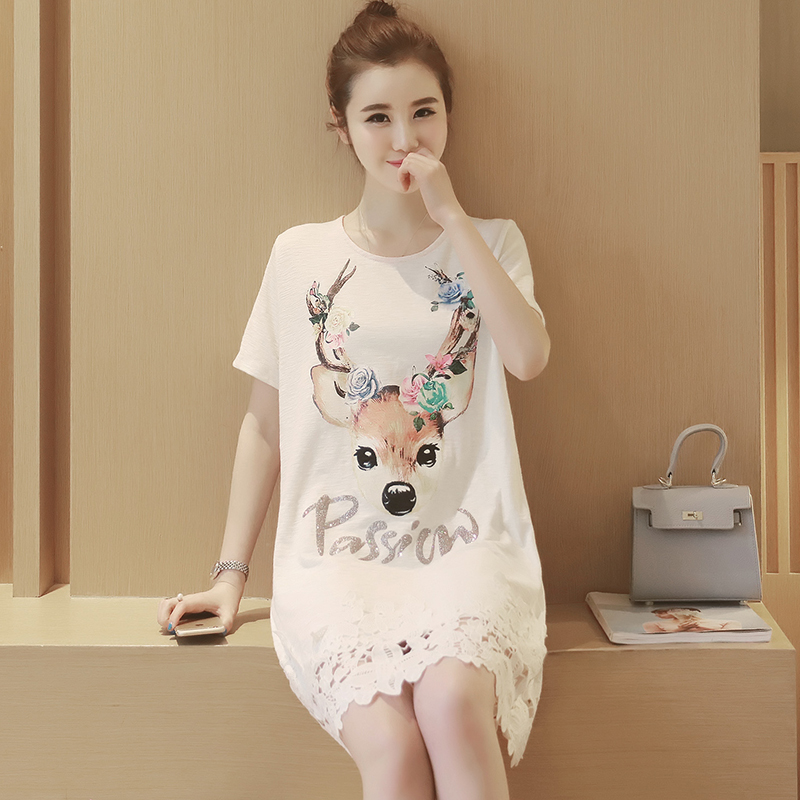 Summer Loose Elk Maternity Feeding Dresses Letter Hook Flower Pregnant Women Clothes Printing Hollow Women Dresses