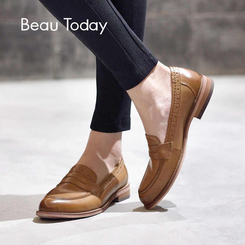 BeauToday Penny loafer'lar kadın koyun derisi mokasen hakiki deri sivri burun üzerinde kayma daireler artı boyutu ayakkabı el yapımı 27013