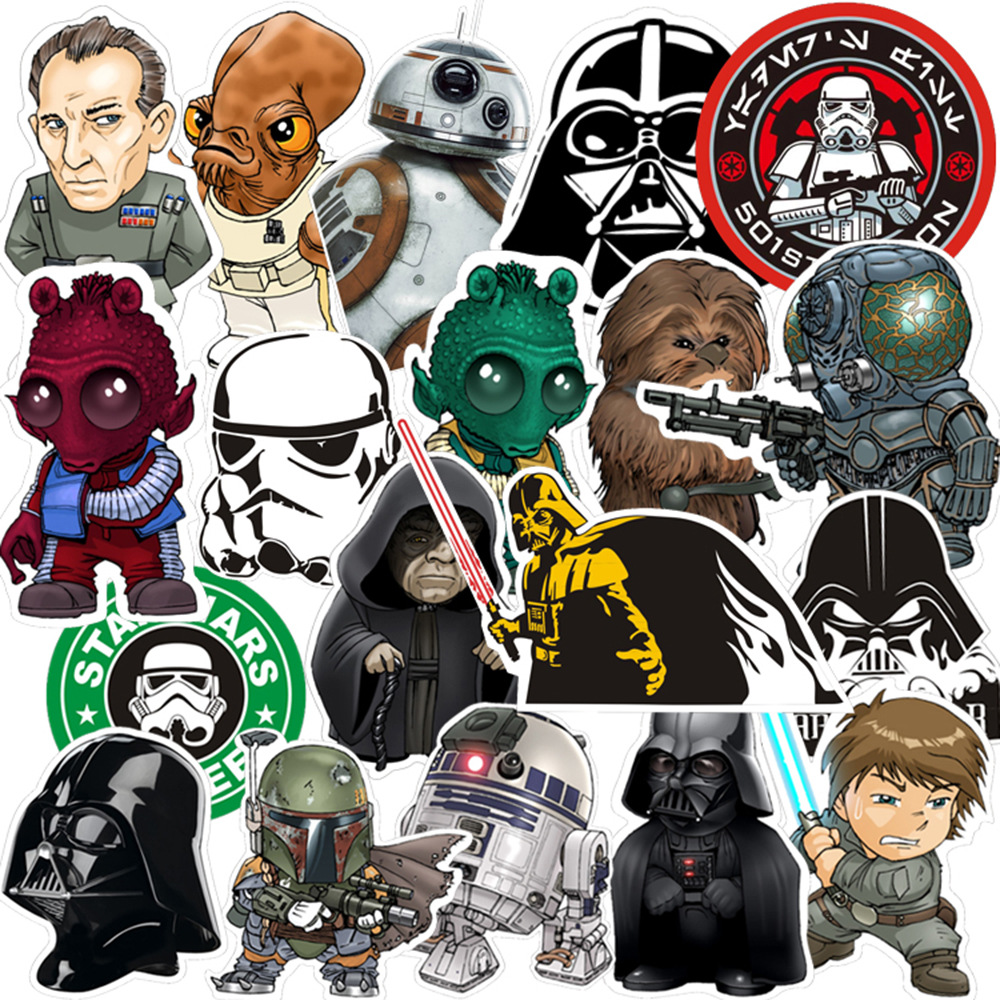 35pcs/set Stars Wars Stickers Darth Vader R2-D2 Stickers PVC Disposable Tattoo DIY Sticker Phone Tablet Car Decal Waterproof