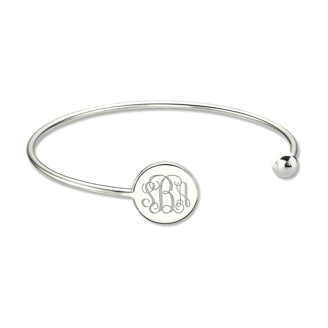Wholesale Sterling Silver Monogram Bangle Bracelet Engrave Disc Monogrammed Initial Bracelet Adjustable Bangle Birthday Gift