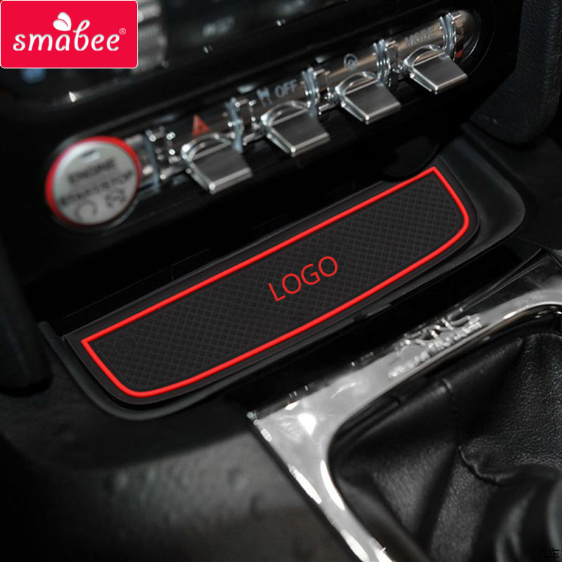 smabee For Ford Mustang 2015 Accessories,3D Rubber Car Mat Car Anti Slip Mat, Non-slip Mats Interior Door Pad/Cup Mat