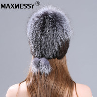 MAXMESSY Women Winter Hat 2017 New Real Fur Pom Fluffy Ball Hat Cap Ball Mink Fur Fashion Russian Cap Hat For Women