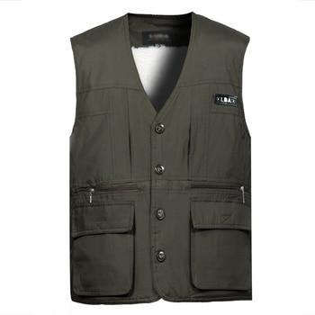 цена Dongkuan middle-aged male thickening vest big yards lamb's wool and cashmere warm vest multi-pocket vest cotton vest онлайн в 2017 году