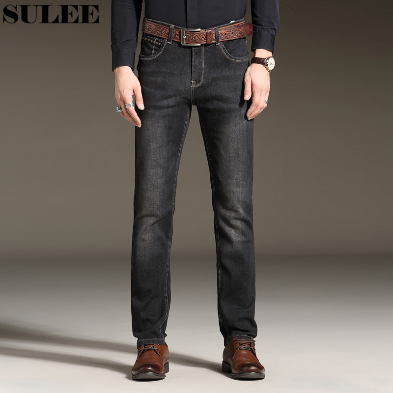 SULEE Brand 2017 New Men Skinny Jeans Stretch Fashion Classic Blue and Black Slim Brand Jeans Male Trousers Plus Size 38 40 42 sulee brand 2017 new fashion business men jeans cotton denim jeans casual straight washed pants stretch jeans plus size 28 40