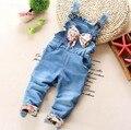 1-2.5Y novo 2016 primavera meninas bowknot denim menina geral do bebê calça jeans meninas macacões roupa das crianças