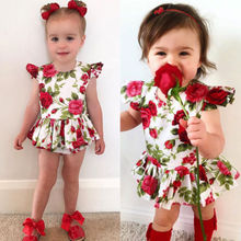 New Summer Kid Rose Flower Romper Dress Cute Baby Girls Floral Sleeveless Romper Jumpsuit Bodysuit Clothes Cotton Newborn Outfit