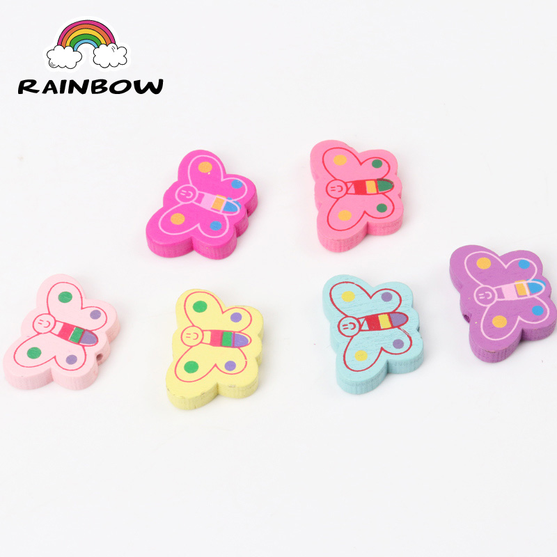 Mixed Colours Cartoon Butterfly Pattern Wooden Material Spacer Beads For Jewelry Making DIY 25x17mm 50pcs