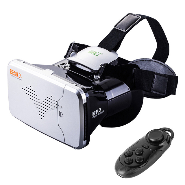 RITECH III Riem3 VR Virtual Reality 3D Glasses Headset Head Mount Google Cardboard for 3.5''-6'' Phone+Bluetooth Remote Control