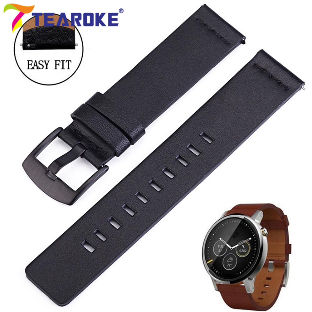 Leather Watchband For Samsung Gear S2 S3 18mm 20mm 22mm 24mm Black Replacement Bracelet Band Strap For Moto360 2nd Smart Watch