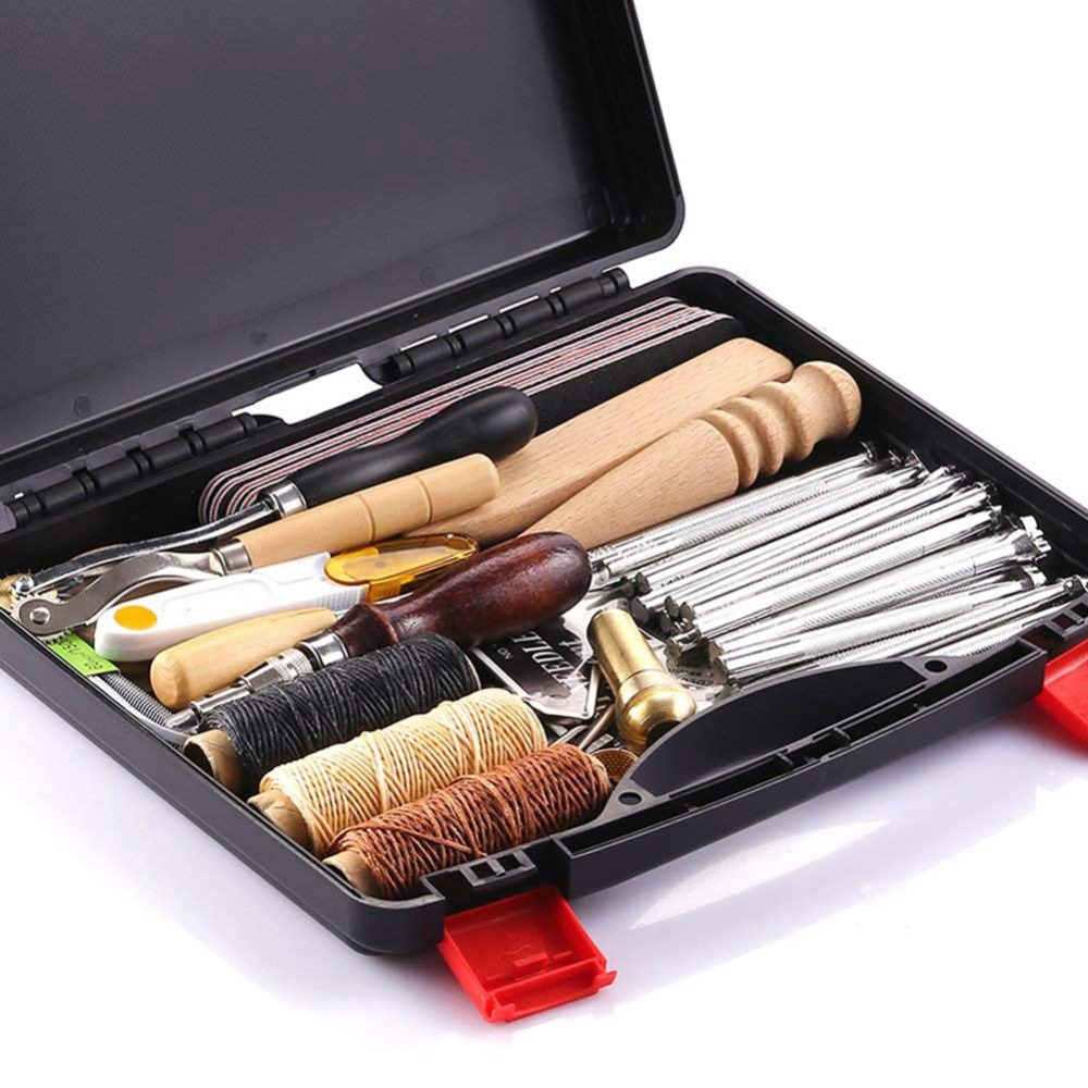 59 Pcs Set Leather Craft Hand Tools Kit For Hand Sewing Stitching Stamping Saddle Making New Arrivals
