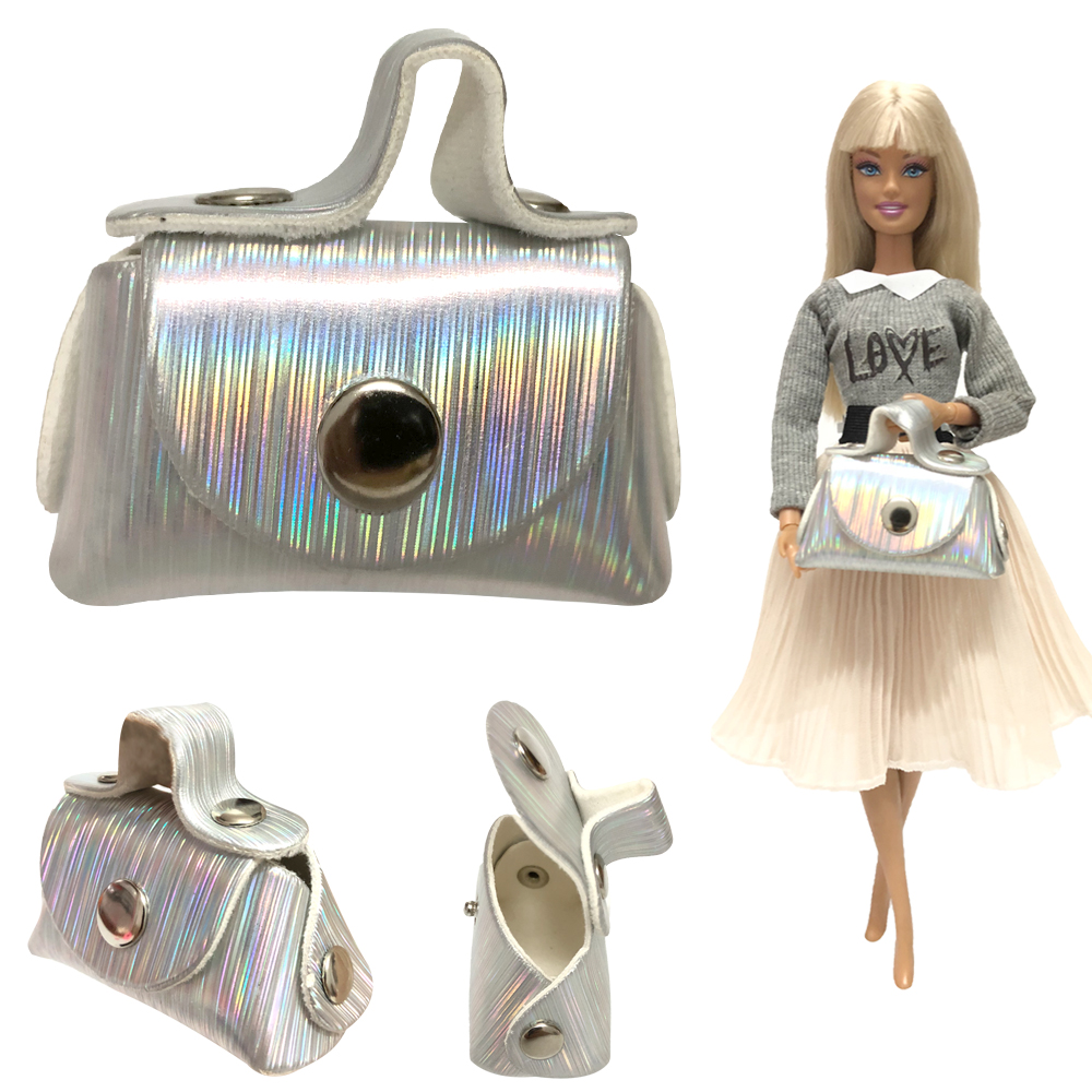 NK 1Pcs Doll Leather Bag Silver Fashion Shoulder Shopping Handbag For Barbie Doll Accessories  Baby Toys 1/6  Doll Gift 06A 6X