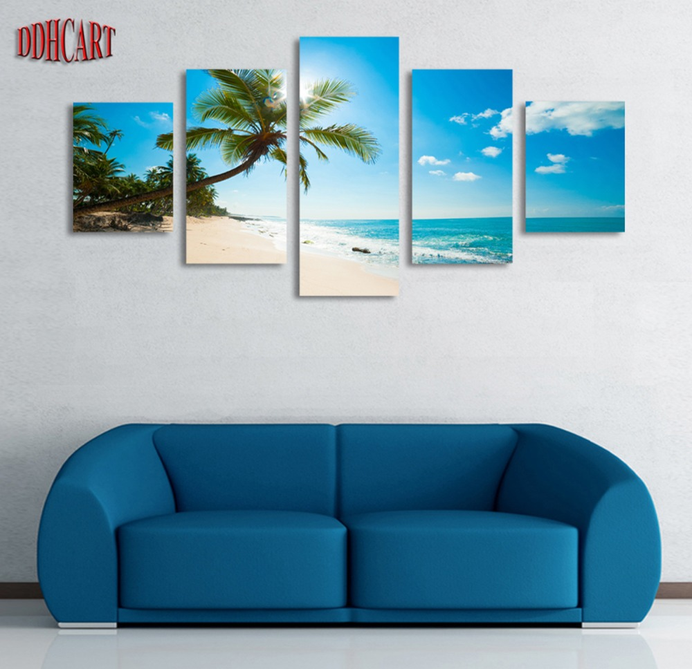 Unframed 5 Panels Picture Sunshine Beach Coconut Trees HD Canvas Print Painting Artwork Wall Art Canvas painting Wholesale