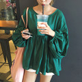 Brief Women Shirts Lantern Sleeve Loose Solid High Waist Han Fan Pleated Blouse Shirt Green 8873