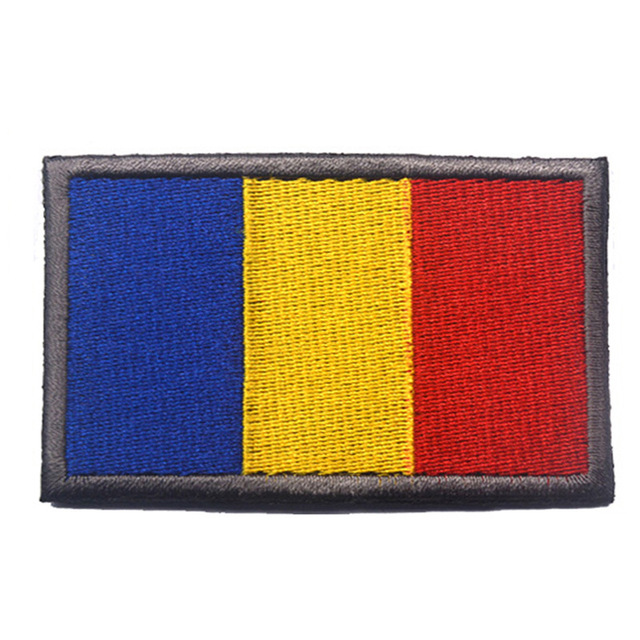 100% Embroidered Romania Flag Patch Fabric Cloth morale patches for  clothing Hats bags stickers Hook 1380effacdc