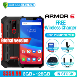 Ulefone Armor 6 Waterproof IP68 NFC Mobile Phone Helio P60 Otca-core Android 8.1 6GB+128GB Wireless charge Face IDGlobal version