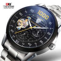 Marque de luxe TEVISE montre automatique Tourbillon montres mécaniques hommes montre Sport auto-remontage mâle montre-bracelet Relogio Masculino